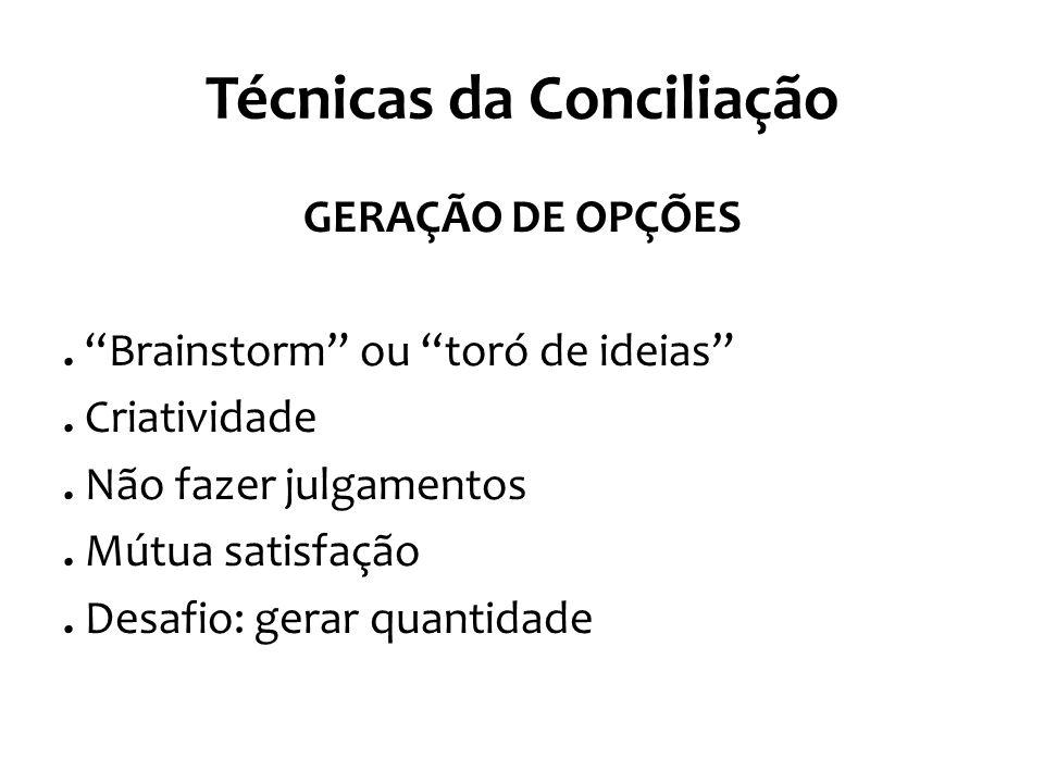 Técnicas da Conciliação GERAÇÃO DE OPÇÕES. Brainstorm ou toró de ideias .