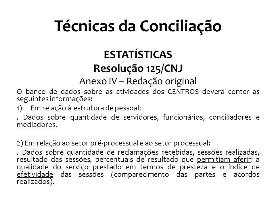 Técnicas da Conciliação ESTATÍSTICAS Resolução 125/CNJ Anexo IV – Redação original O banco de dados sobre as atividades dos CENTROS deverá conter as seguintes informações: 1)Em relação à estrutura de pessoal:.