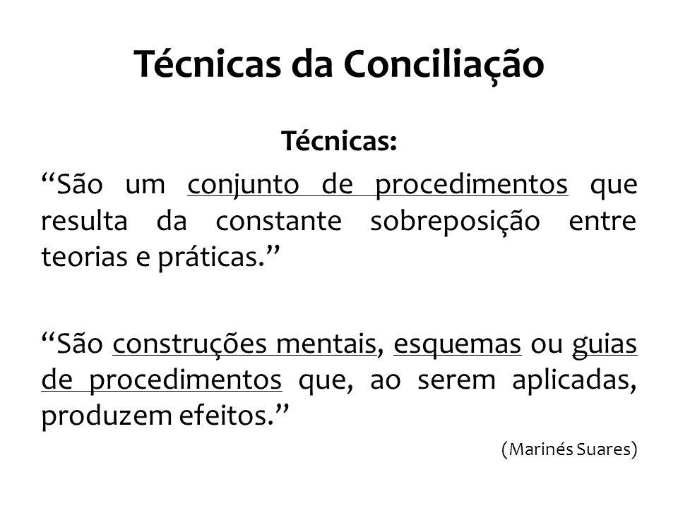 Técnicas da Conciliação Técnicas: São um conjunto de procedimentos que resulta da constante sobreposição entre teorias e práticas. São construções mentais, esquemas ou guias de procedimentos que, ao serem aplicadas, produzem efeitos. (Marinés Suares)