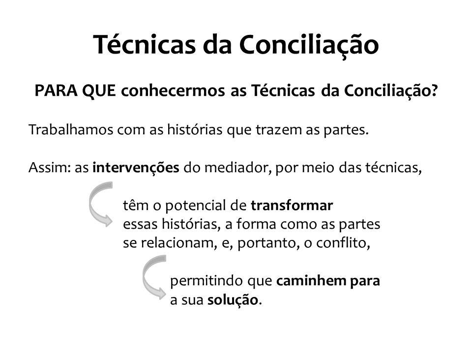 Técnicas da Conciliação PARA QUE conhecermos as Técnicas da Conciliação? Trabalhamos com as histórias que trazem as partes. Assim: as intervenções do