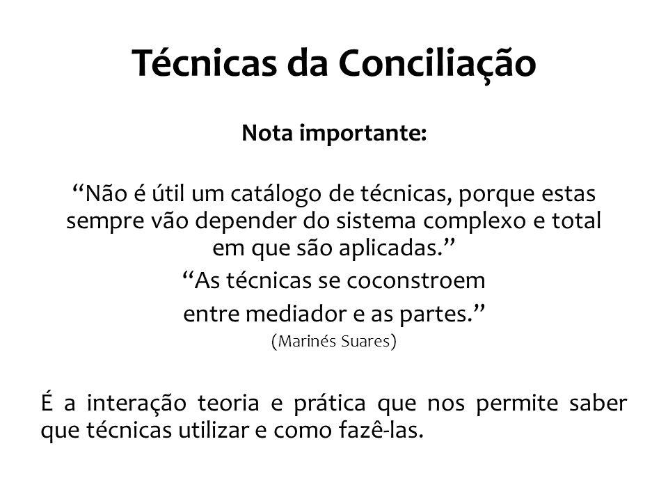"""Técnicas da Conciliação Nota importante: """"Não é útil um catálogo de técnicas, porque estas sempre vão depender do sistema complexo e total em que são"""