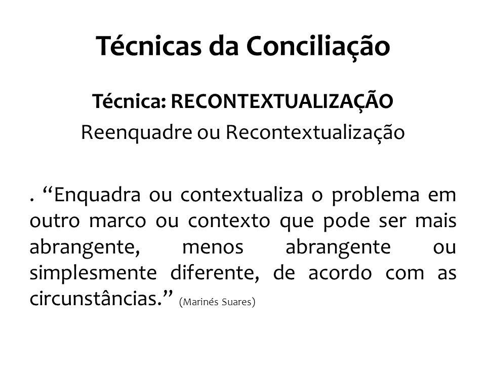 """Técnicas da Conciliação Técnica: RECONTEXTUALIZAÇÃO Reenquadre ou Recontextualização. """"Enquadra ou contextualiza o problema em outro marco ou contexto"""