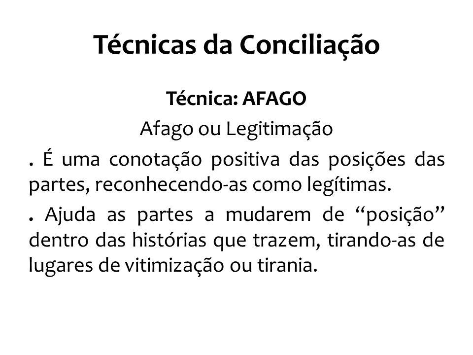 Técnicas da Conciliação Técnica: AFAGO Afago ou Legitimação. É uma conotação positiva das posições das partes, reconhecendo-as como legítimas.. Ajuda