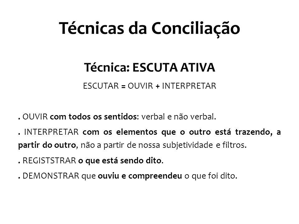 Técnicas da Conciliação Técnica: ESCUTA ATIVA ESCUTAR = OUVIR + INTERPRETAR. OUVIR com todos os sentidos: verbal e não verbal.. INTERPRETAR com os ele