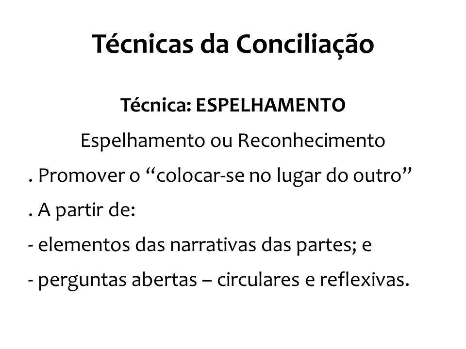 """Técnicas da Conciliação Técnica: ESPELHAMENTO Espelhamento ou Reconhecimento. Promover o """"colocar-se no lugar do outro"""". A partir de: - elementos das"""