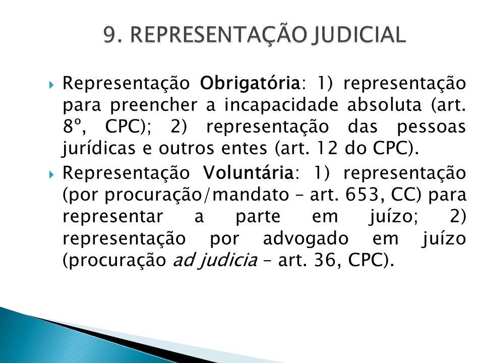  Representação Obrigatória: 1) representação para preencher a incapacidade absoluta (art. 8º, CPC); 2) representação das pessoas jurídicas e outros e