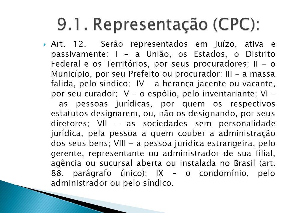  Art. 12. Serão representados em juízo, ativa e passivamente: I - a União, os Estados, o Distrito Federal e os Territórios, por seus procuradores; II