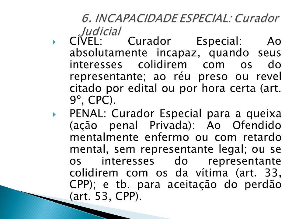  CÍVEL: Curador Especial: Ao absolutamente incapaz, quando seus interesses colidirem com os do representante; ao réu preso ou revel citado por edital