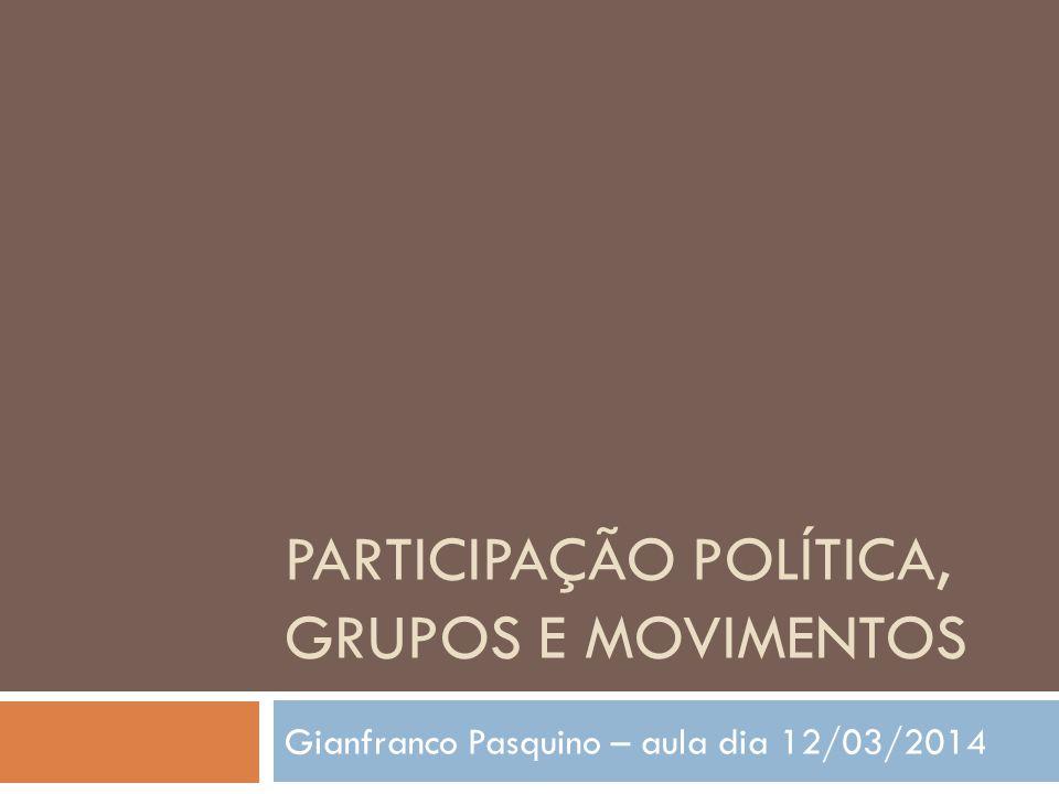 PARTICIPAÇÃO POLÍTICA, GRUPOS E MOVIMENTOS Gianfranco Pasquino – aula dia 12/03/2014