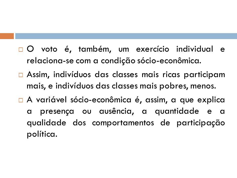  O voto é, também, um exercício individual e relaciona-se com a condição sócio-econômica.  Assim, indivíduos das classes mais ricas participam mais,