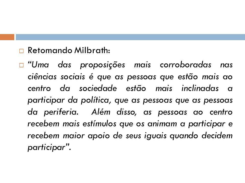 """ Retomando Milbrath:  """"Uma das proposições mais corroboradas nas ciências sociais é que as pessoas que estão mais ao centro da sociedade estão mais"""