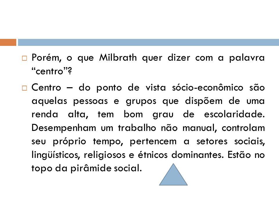 """ Porém, o que Milbrath quer dizer com a palavra """"centro""""?  Centro – do ponto de vista sócio-econômico são aquelas pessoas e grupos que dispõem de um"""