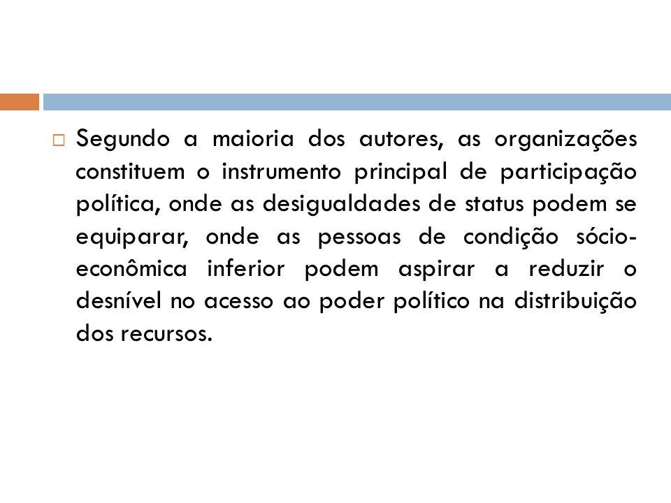  Segundo a maioria dos autores, as organizações constituem o instrumento principal de participação política, onde as desigualdades de status podem se