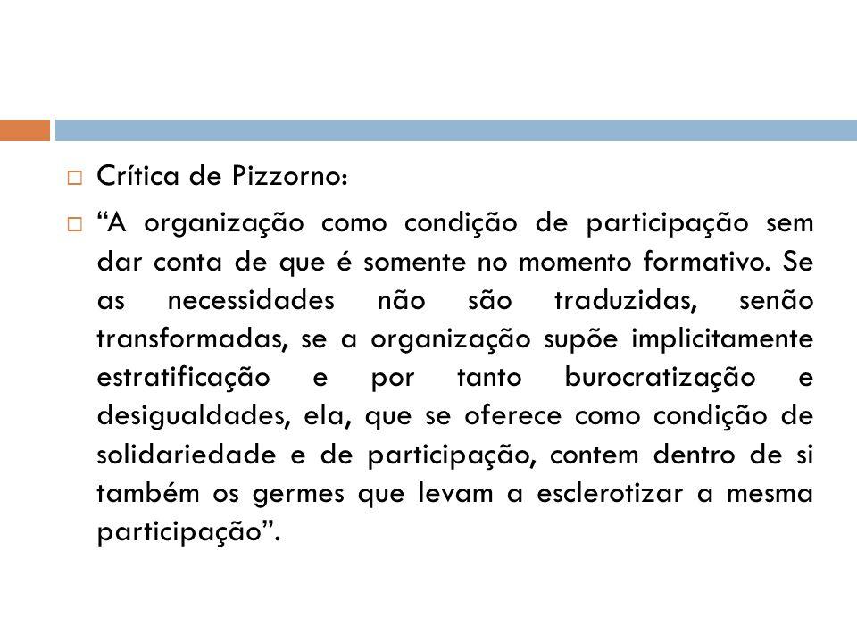 """ Crítica de Pizzorno:  """"A organização como condição de participação sem dar conta de que é somente no momento formativo. Se as necessidades não são"""