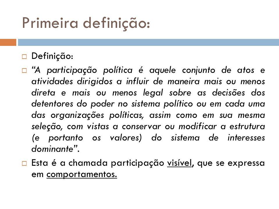 """Primeira definição:  Definição:  """"A participação política é aquele conjunto de atos e atividades dirigidos a influir de maneira mais ou menos direta"""