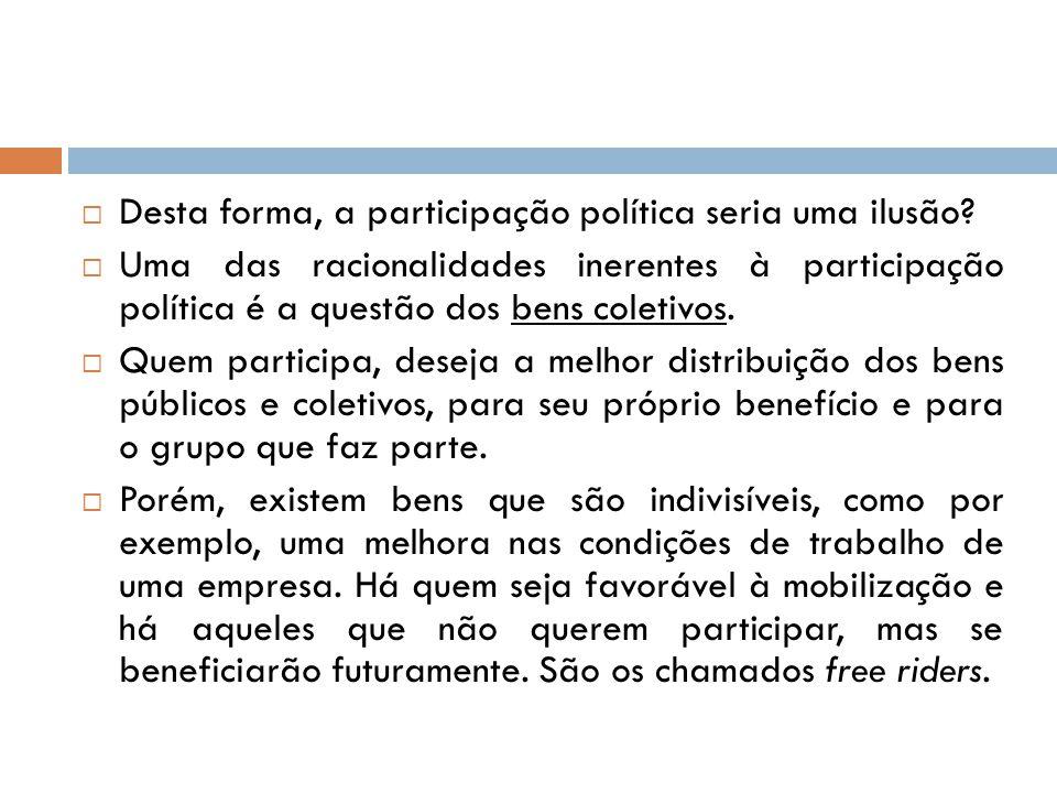  Desta forma, a participação política seria uma ilusão?  Uma das racionalidades inerentes à participação política é a questão dos bens coletivos. 
