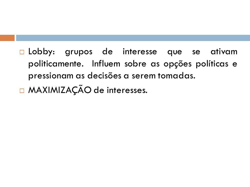  Lobby: grupos de interesse que se ativam politicamente. Influem sobre as opções políticas e pressionam as decisões a serem tomadas.  MAXIMIZAÇÃO de