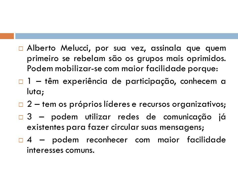  Alberto Melucci, por sua vez, assinala que quem primeiro se rebelam são os grupos mais oprimidos. Podem mobilizar-se com maior facilidade porque: 