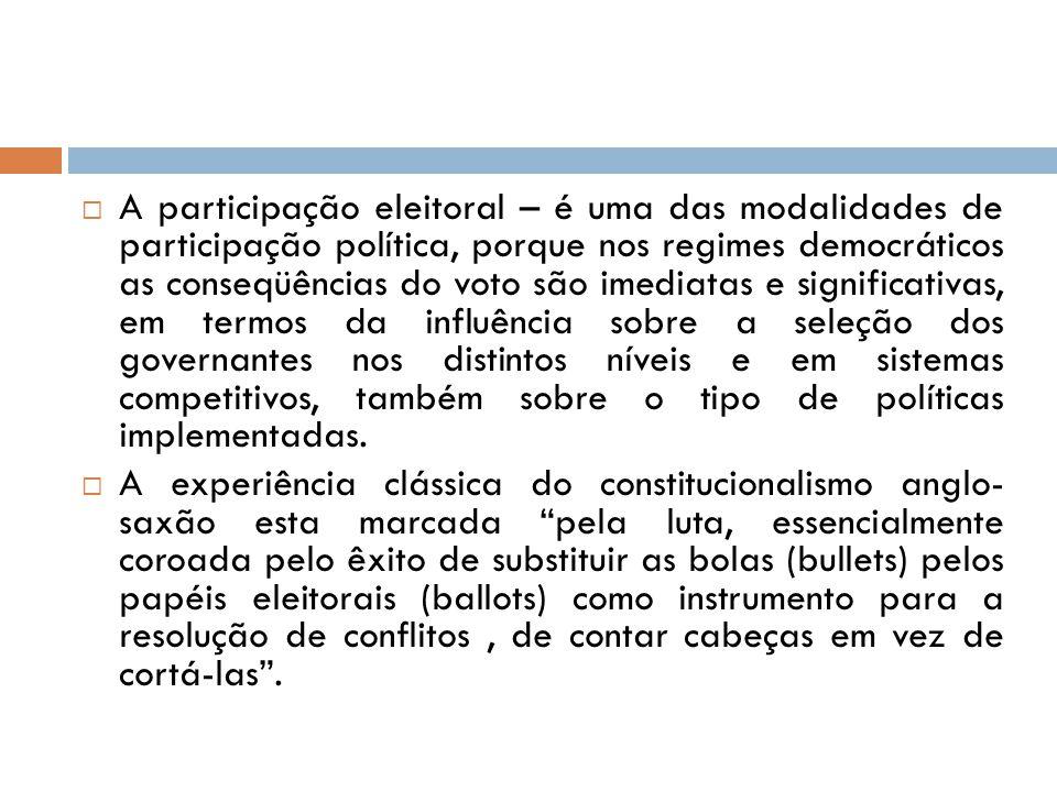  A participação eleitoral – é uma das modalidades de participação política, porque nos regimes democráticos as conseqüências do voto são imediatas e