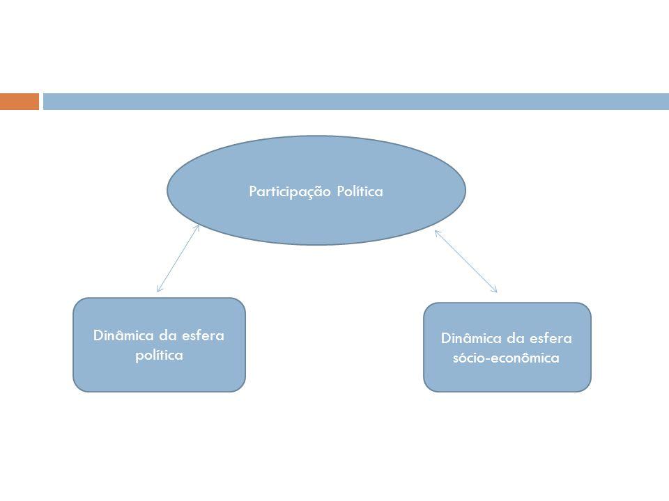 Participação Política Dinâmica da esfera política Dinâmica da esfera sócio-econômica