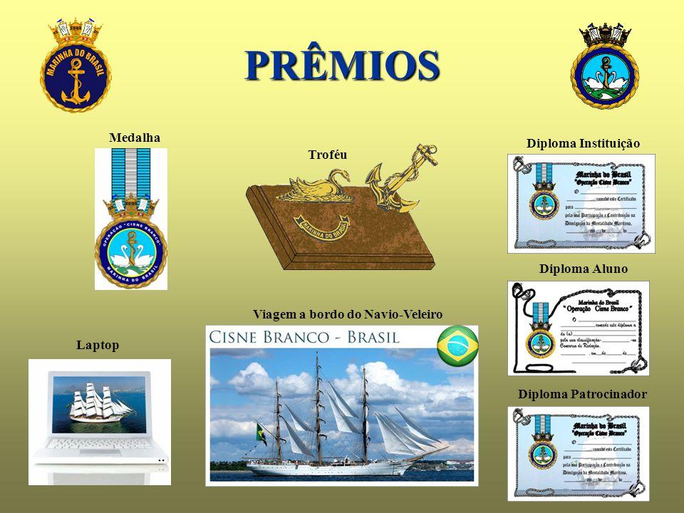 PRÊMIOS Diploma Instituição Diploma Aluno Diploma Patrocinador Medalha Troféu Laptop Viagem a bordo do Navio-Veleiro