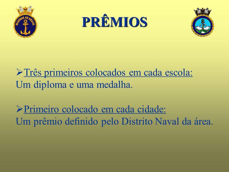 PRÊMIOS  Três primeiros colocados em cada escola: Um diploma e uma medalha.  Primeiro colocado em cada cidade: Um prêmio definido pelo Distrito Nava