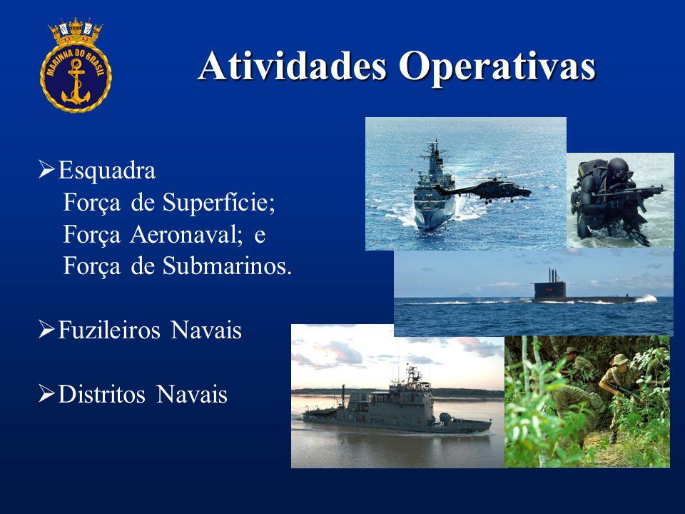 Atividades Operativas  Esquadra Força de Superfície; Força Aeronaval; e Força de Submarinos.  Fuzileiros Navais  Distritos Navais