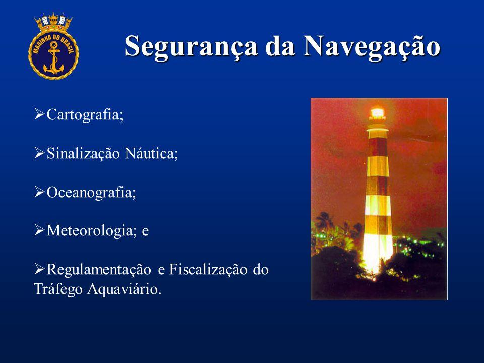 Segurança da Navegação  Cartografia;  Sinalização Náutica;  Oceanografia;  Meteorologia; e  Regulamentação e Fiscalização do Tráfego Aquaviário.