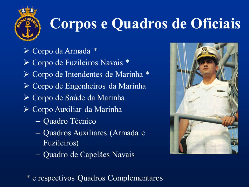 Corpos e Quadros de Oficiais  Corpo da Armada *  Corpo de Fuzileiros Navais *  Corpo de Intendentes de Marinha *  Corpo de Engenheiros da Marinha