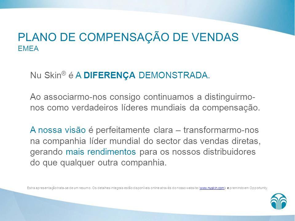 PLANO DE COMPENSAÇÃO DE VENDAS EMEA Nu Skin ® é A DIFERENÇA DEMONSTRADA. Ao associarmo-nos consigo continuamos a distinguirmo- nos como verdadeiros lí