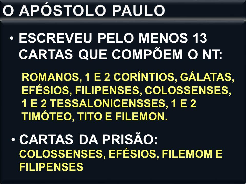 ESCREVEU PELO MENOS 13 CARTAS QUE COMPÕEM O NT: ROMANOS, 1 E 2 CORÍNTIOS, GÁLATAS, EFÉSIOS, FILIPENSES, COLOSSENSES, 1 E 2 TESSALONICENSSES, 1 E 2 TIMÓTEO, TITO E FILEMON.