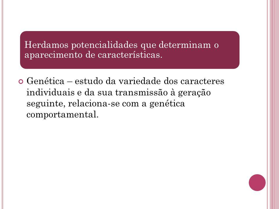 Genética – estudo da variedade dos caracteres individuais e da sua transmissão à geração seguinte, relaciona-se com a genética comportamental. Herdamo