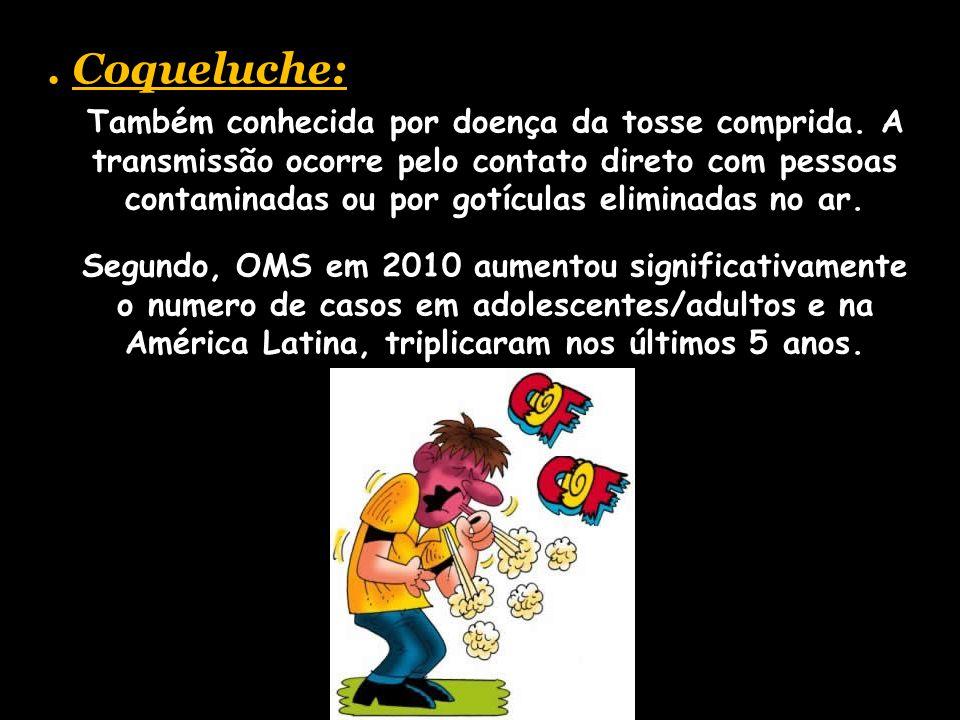 . Coqueluche: Também conhecida por doença da tosse comprida. A transmissão ocorre pelo contato direto com pessoas contaminadas ou por gotículas elimin