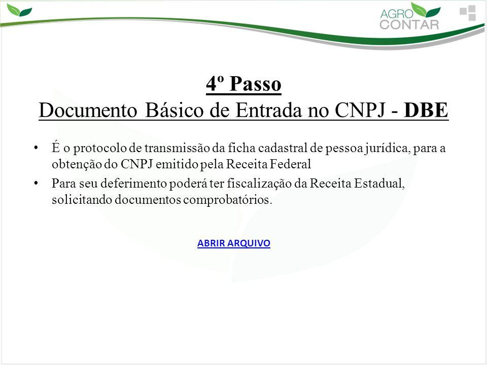 4º Passo Documento Básico de Entrada no CNPJ - DBE É o protocolo de transmissão da ficha cadastral de pessoa jurídica, para a obtenção do CNPJ emitido