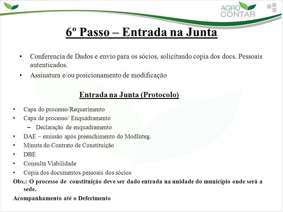6º Passo – Entrada na Junta Capa do processo/Requerimento Capa de processo/ Enquadramento – Declaração de enquadramento DAE – emissão após preenchimen