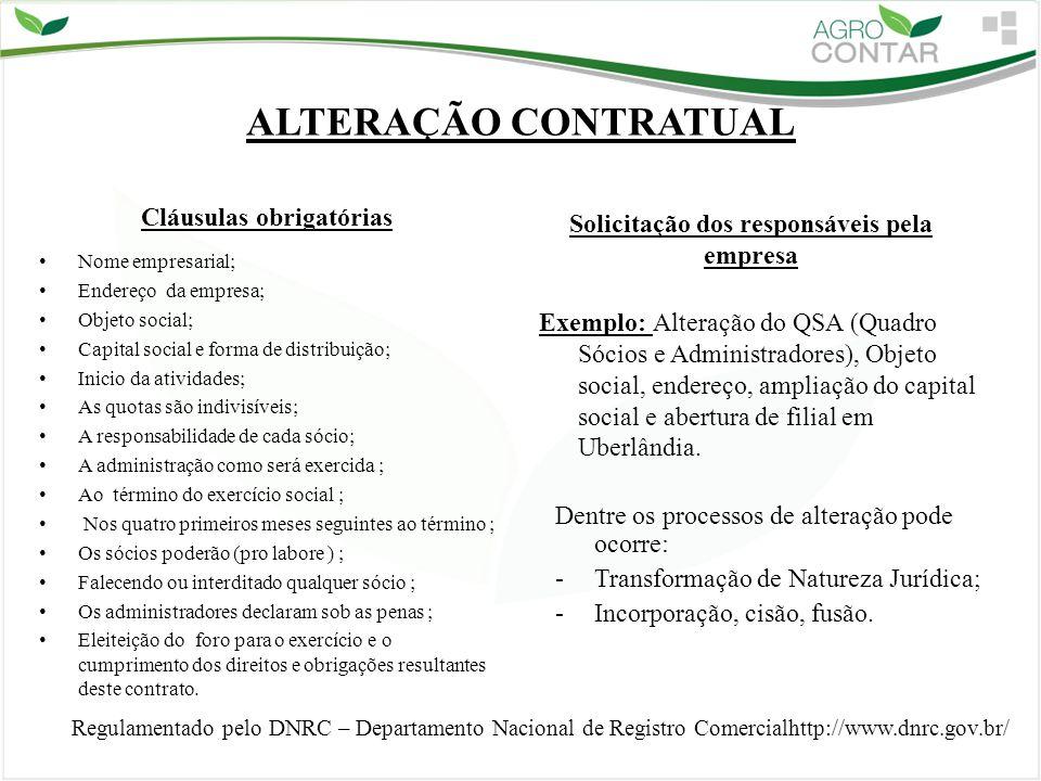 ALTERAÇÃO CONTRATUAL Solicitação dos responsáveis pela empresa Exemplo: Alteração do QSA (Quadro Sócios e Administradores), Objeto social, endereço, a