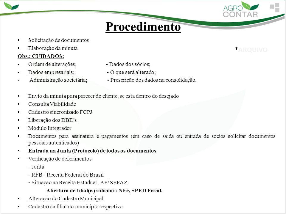Procedimento Solicitação de documentos Elaboração da minuta Obs.: CUIDADOS: -Ordem de alterações; - Dados dos sócios; -Dados empresariais; - O que ser