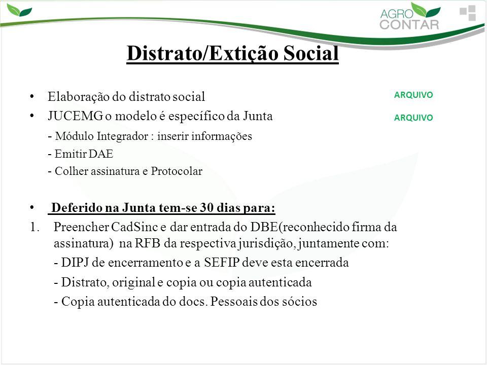 Distrato/Extição Social Elaboração do distrato social JUCEMG o modelo é específico da Junta - Módulo Integrador : inserir informações - Emitir DAE - C