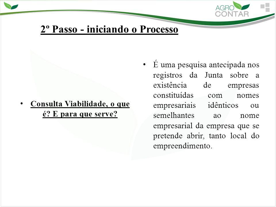 2º Passo - iniciando o Processo Consulta Viabilidade, o que é? E para que serve? É uma pesquisa antecipada nos registros da Junta sobre a existência d
