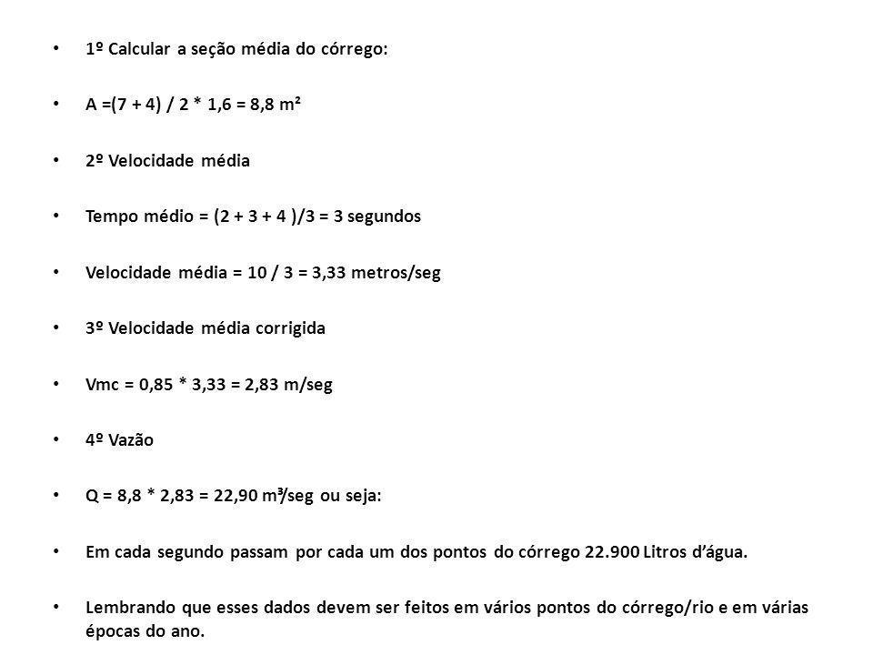 1º Calcular a seção média do córrego: A =(7 + 4) / 2 * 1,6 = 8,8 m² 2º Velocidade média Tempo médio = (2 + 3 + 4 )/3 = 3 segundos Velocidade média = 1