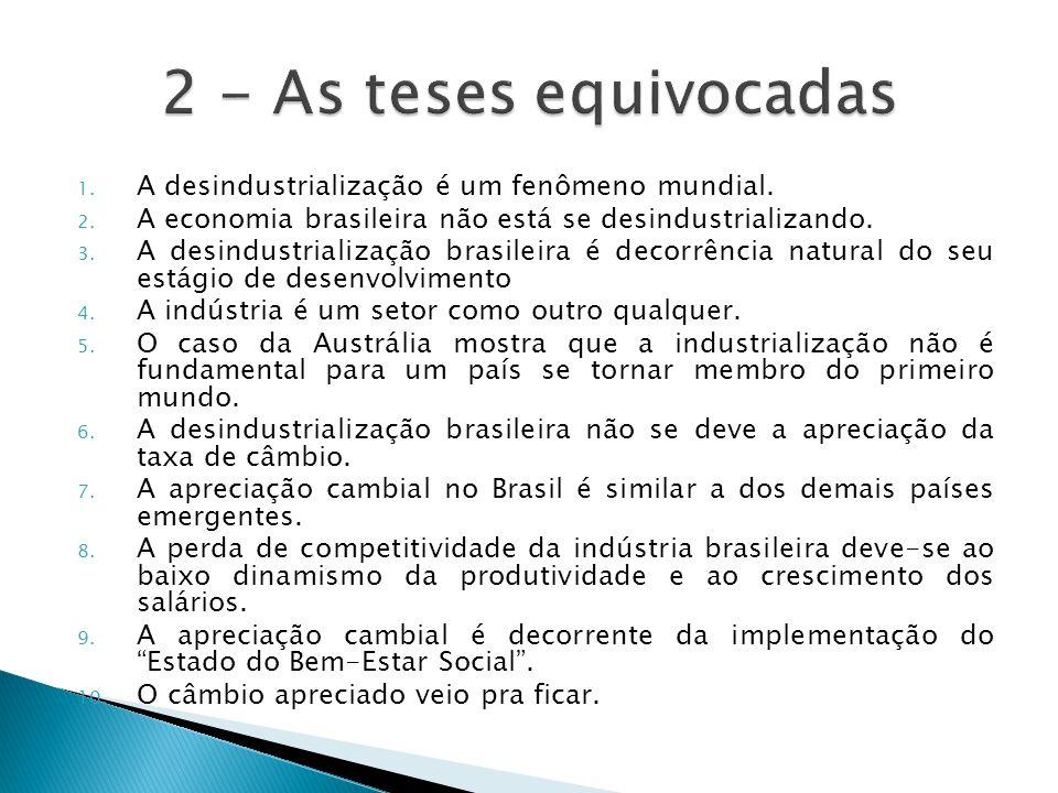 1. A desindustrialização é um fenômeno mundial. 2. A economia brasileira não está se desindustrializando. 3. A desindustrialização brasileira é decorr