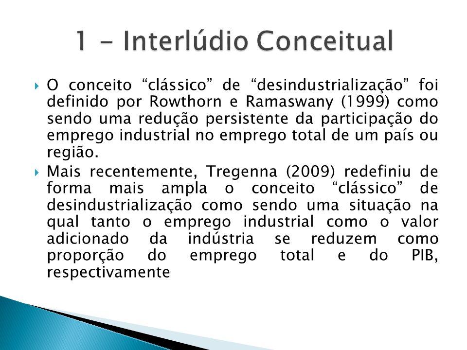 """ O conceito """"clássico"""" de """"desindustrialização"""" foi definido por Rowthorn e Ramaswany (1999) como sendo uma redução persistente da participação do em"""
