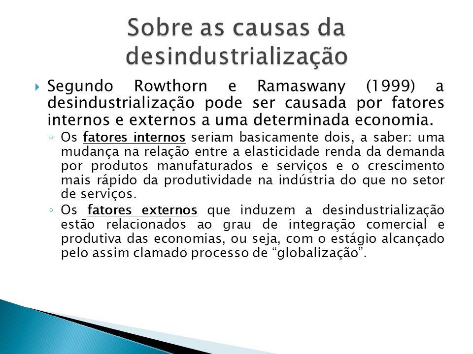  Segundo Rowthorn e Ramaswany (1999) a desindustrialização pode ser causada por fatores internos e externos a uma determinada economia. ◦ Os fatores