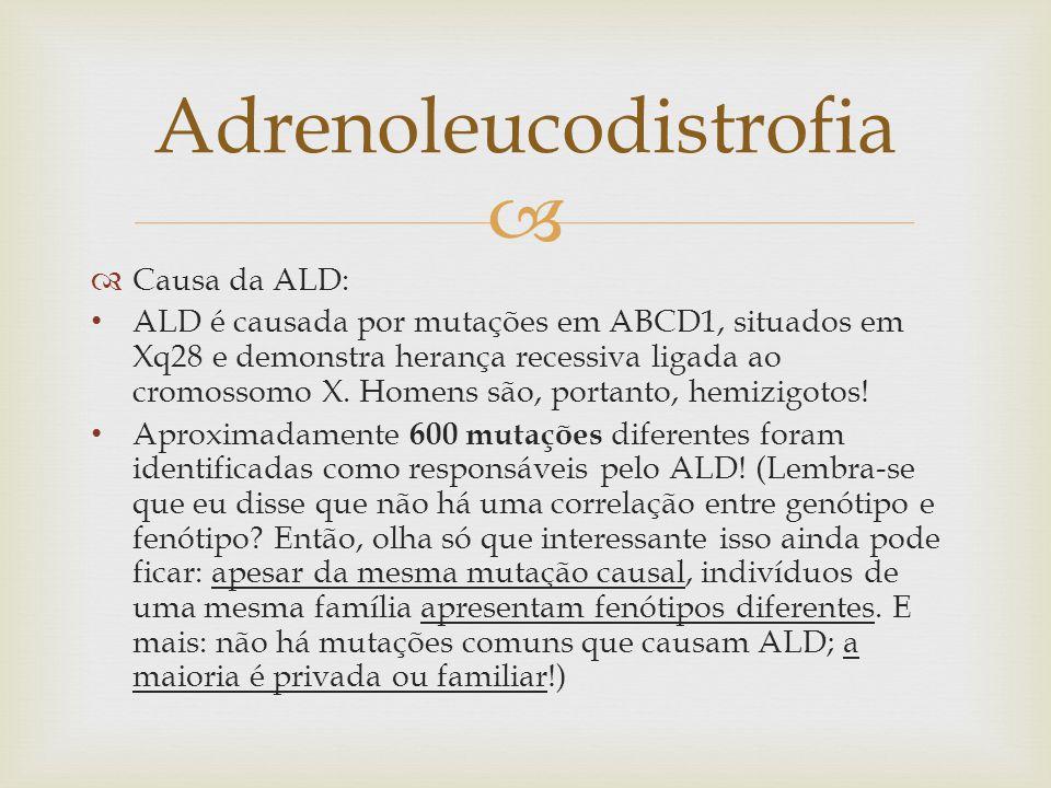   Causa da ALD: ALD é causada por mutações em ABCD1, situados em Xq28 e demonstra herança recessiva ligada ao cromossomo X. Homens são, portanto, he