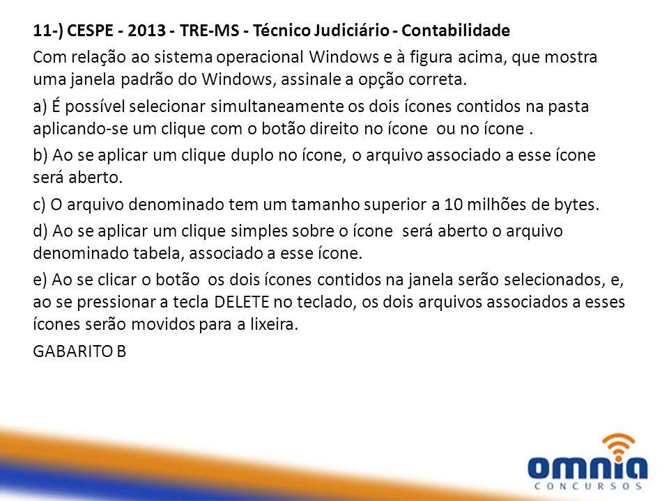 11-) CESPE - 2013 - TRE-MS - Técnico Judiciário - Contabilidade Com relação ao sistema operacional Windows e à figura acima, que mostra uma janela padrão do Windows, assinale a opção correta.