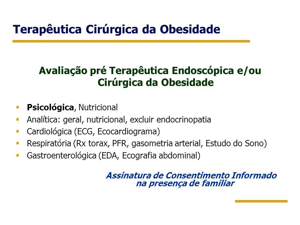Terapêutica Cirúrgica da Obesidade Avaliação pré Terapêutica Endoscópica e/ou Cirúrgica da Obesidade  Psicológica, Nutricional  Analítica: geral, nu