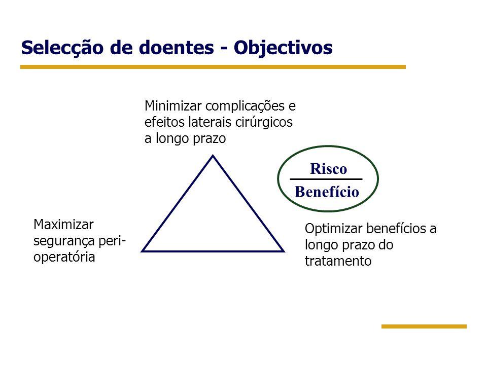Selecção de doentes - Objectivos Maximizar segurança peri- operatória Minimizar complicações e efeitos laterais cirúrgicos a longo prazo Optimizar ben