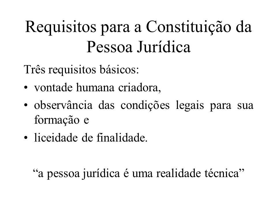 Requisitos para a Constituição da Pessoa Jurídica Três requisitos básicos: vontade humana criadora, observância das condições legais para sua formação