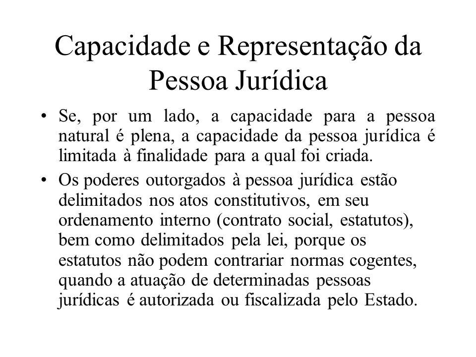 Capacidade e Representação da Pessoa Jurídica Se, por um lado, a capacidade para a pessoa natural é plena, a capacidade da pessoa jurídica é limitada