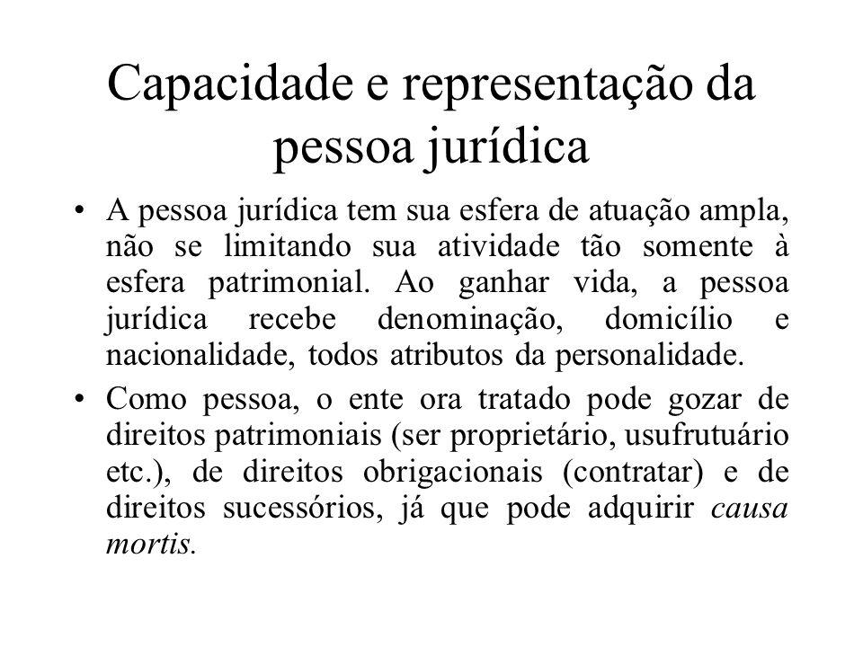 Capacidade e representação da pessoa jurídica A pessoa jurídica tem sua esfera de atuação ampla, não se limitando sua atividade tão somente à esfera p
